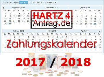 Hartz IV Auszahlung - Zahlungskalender 2017 & 2018